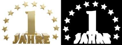 Dígito dourado um e a palavra do ano, decorada com estrelas Traduzido do alemão ilustração 3D Fotos de Stock Royalty Free