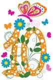 Dígito engraçado 10 com borboletas Imagem de Stock
