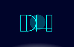Dh d h blue line circle alphabet letter logo icon template vecto Royalty Free Stock Photo