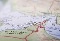 Dhabi-und Dubai-Karte Lizenzfreie Stockfotos