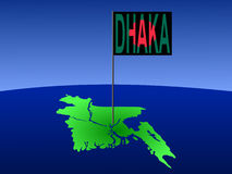Dhaka on Bangladesh map. Map of Bangladesh with position of Dhaka marked by flag pole illustration Stock Image