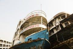 Dhaka, Bangladesh, o 24 de fevereiro de 2017: Cemitério do navio em Dhaka Bangladesh Fotos de Stock