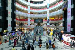 Dhaka, bangladesh, september 17- Bashundhara City Shopping Mall with 11 floor building complex and people at shopping. Center located in Panthapath in dhaka in Royalty Free Stock Photography