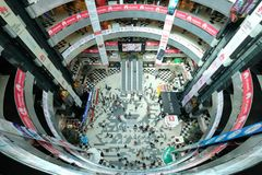 Dhaka, bangladesh, september 17- Bashundhara City Shopping Mall with 11 floor building complex and people at shopping. Center located in Panthapath in dhaka in Royalty Free Stock Image