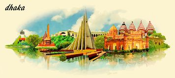DHAKA city water color vector panoramic illustration. With blue sky vector illustration