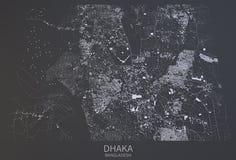 Dhaka map, satellite view, Bangladesh Stock Image