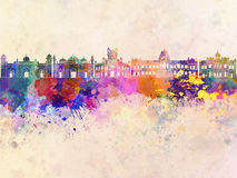 Dhaka skyline in watercolor Royalty Free Stock Photo