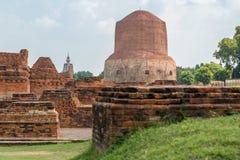 Dhamek Stupa, Sarnath, Индия стоковые изображения rf