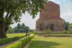 Dhamek Stupa, Sarnath, Индия Стоковое Фото