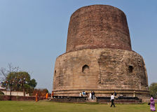 Dhamekh Stupa is a Buddhism historic site. Stock Photo