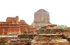 The Dhamekh Stupa from main shrine ruins, Sarnath Stock Photos