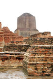 The Dhamekh Stupa from monastery remains, sarnath Stock Photo