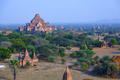 Dhammayangyi Pahto. The Dhammayangyi Pahto stood on the plains of Bagan, in Myanmar (Burma)。The scency see from the Shwesandaw Paya in afternoon royalty free stock photography