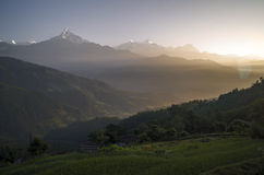 Dhampus wschód słońca fotografia stock