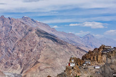 Dhankar gompa Buddhist monastery on a cliff Stock Images
