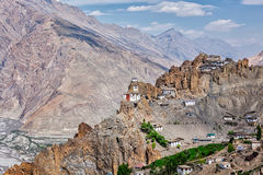 Dhankar gompa Buddhist monastery  in Himalayas Stock Photography