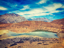 Dhankar lake in Himalayas. Dhankar, Spiti valley, Himachal Prade Stock Photos