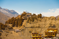 Dhankar Old New Monastery Together Royalty Free Stock Photos