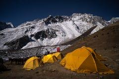 Dharamsala camp site under the moonlight in Manaslu circuit trek, Himalayas mountain, Nepal stock photography