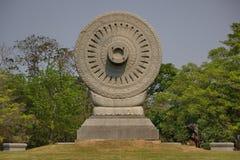 Dharma chakra. Dhamma chakra at Buddhist province in Thailand Royalty Free Stock Photography