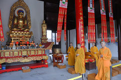 Dharma Events in Pilu Temple, Nanjing. Gilt-Bronze Statue of Vairocana Buddha in Pilu Temple, Nanjing, Jiangsu Province, China. Pilu Temple was built in 1522 AD royalty free stock images