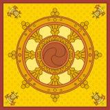 Dharma Wheel, ícones de Dharmachakra no projeto preto e branco Símbolos do budismo Ensinos do ` s da Buda do símbolo no trajeto a Fotos de Stock Royalty Free