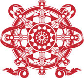 Dharma Wheel. A stylized red dharma wheel Royalty Free Stock Images