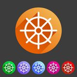 Dharma wheel dharmachakra buddhism icon flat web sign symbol logo label. Set Royalty Free Stock Images
