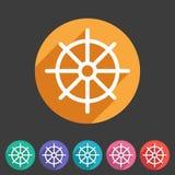 Dharma wheel dharmachakra buddhism icon flat web sign symbol logo label. Set Stock Images