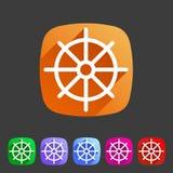 Dharma wheel dharmachakra buddhism icon flat web sign symbol logo label. Set Royalty Free Stock Photography