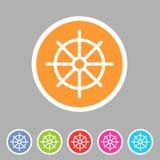 Dharma wheel dharmachakra buddhism icon flat web sign symbol logo label. Set Royalty Free Stock Photo