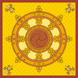 Dharma Wheel, Dharmachakra-Ikonen in vom Schwarzweiss-Design Buddhismussymbole Symbol-Buddha-` s Unterricht auf dem Weg zum enli Lizenzfreie Stockfotos