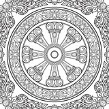 Dharma Wheel, Dharmachakra. Symbol of Buddha`s teachings on the path to enlightenment, liberation from the karmic. Rebirth in samsara. Seamless pattern. EPS10 Stock Image