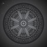 Dharma Wheel, Dharmachakra. Symbol of Buddha`s teachings on the path to enlightenment, liberation from the karmic. Rebirth in samsara. Starry night sky textured Royalty Free Stock Photos