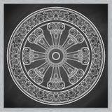 Dharma Wheel, Dharmachakra Symbool van het onderwijs van Boedha ` s op de weg aan verlichting, bevrijding van karmic stock illustratie