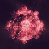 Dharma Wheel symbol Buddhism. Abstract night sky background. Symbol Stock Image