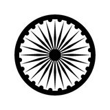 Dharmacakra, Dharma Wheel. Dharma wheel, detail of Indian national flag. Black design element, isolated on white Royalty Free Stock Images