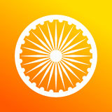 Dharmacakra, Dharma Wheel. Dharma wheel, element of Indian national flag. Deep saffron and white colors Royalty Free Stock Photo