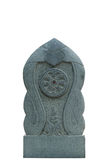 Dharmacakra, The Wheel of the Law, Stone Sculpture. Isolated Stock Image