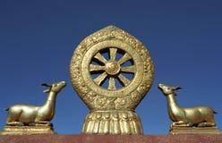 Dharmachakra no telhado do templo de Jokhang Fotos de Stock
