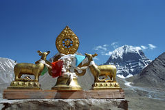 Dharmachakra on the roof of Buddhist monastery Driraphuk gompa. Dharmachakra on the roof of Buddhist monastery Driraphuk gompa at the North Face of sacred Mount Stock Photography