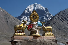 Dharmachakra on the roof of Buddhist monastery Driraphuk gompa. Royalty Free Stock Photo