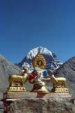 Dharmachakra on the roof of Buddhist monastery Driraphuk gompa. Royalty Free Stock Image