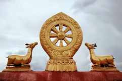 Dharmachakra on the roof of Jokhang Temple in Lhasa. Stock Images