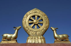 Dharmachakra on the roof of Jokhang Temple. Stock Photos