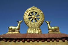 Dharmachakra on the roof of Jokhang Temple. Stock Photo