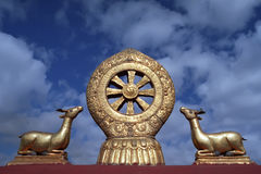 Dharmachakra sul tetto del tempio di Jokhang a Lhasa immagini stock libere da diritti