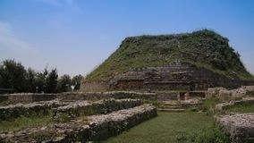 Dharmarajika stupa的看法在塔克西拉破坏巴基斯坦 库存照片