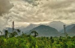 Dhauladhar山, Kangra谷,喜马偕尔邦 库存图片
