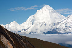 Dhaulagiri. From thorung la pass stock image